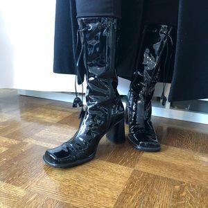 Mila Paoli Patent Leather Square Toe Boots
